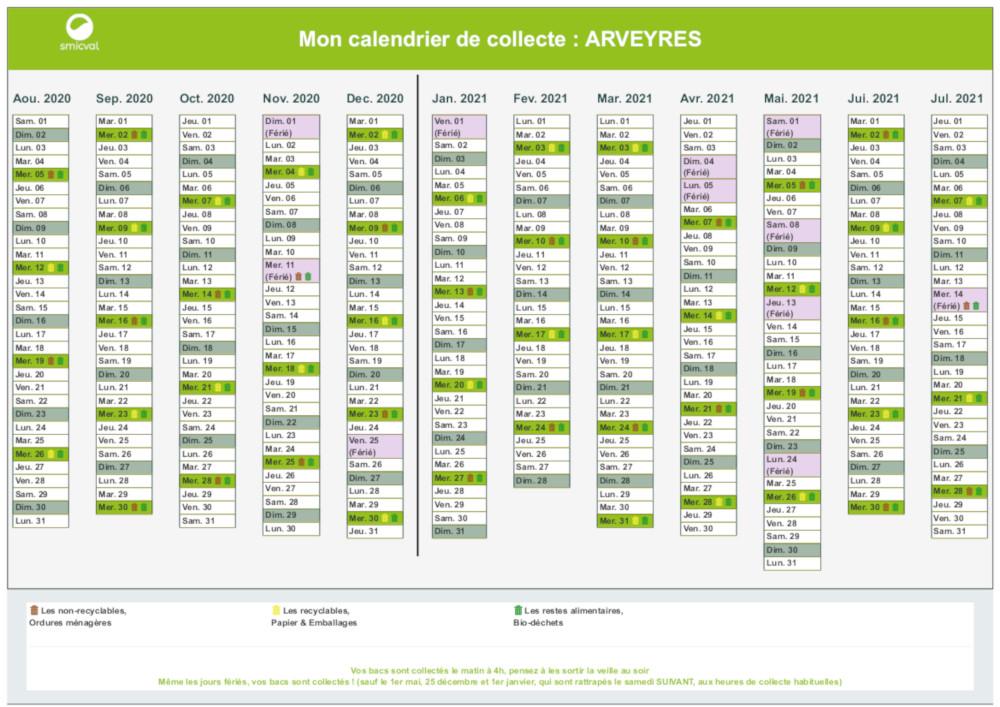 Smicval Calendrier 2021 Déchets | Arveyres